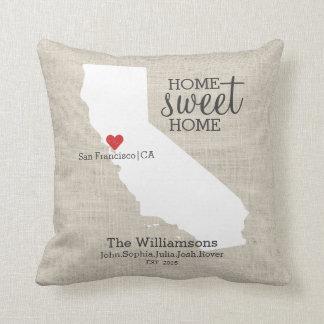 Mapa de encargo casero dulce del hogar del amor cojín decorativo