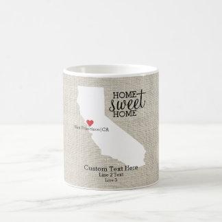 Mapa de encargo casero dulce del hogar del amor taza de café
