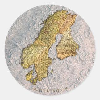 Mapa de ESCANDINAVIA en serie del pegatina del