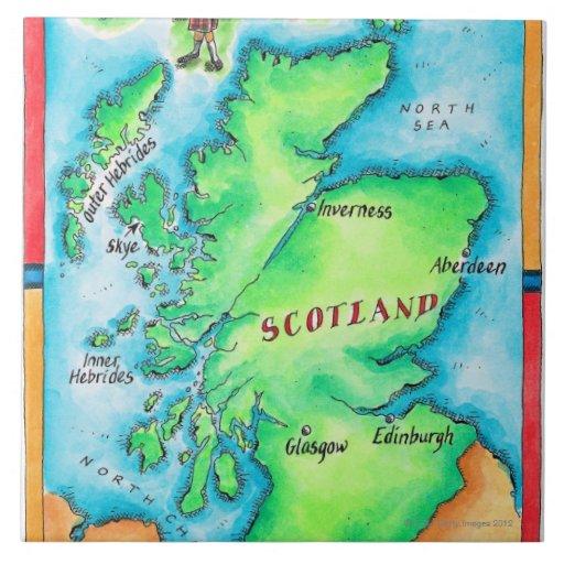 Mapa de Escocia Azulejo Cuadrado Grande