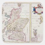 Mapa de Escocia, c.1700 Pegatinas Cuadradas