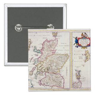 Mapa de Escocia, c.1700 Pin Cuadrada 5 Cm
