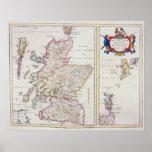 Mapa de Escocia, c.1700 Posters