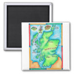 Mapa de Escocia Imán Cuadrado