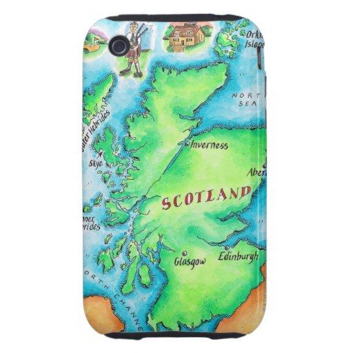 Mapa de Escocia iPhone 3 Tough Funda