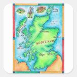 Mapa de Escocia Pegatina Cuadrada