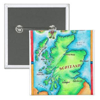 Mapa de Escocia Pin Cuadrado