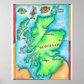 Mapa de Escocia Póster