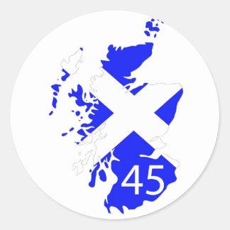 Mapa de Escocia Saltire Pegatina Redonda