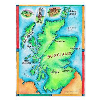 Mapa de Escocia Tarjeta Postal