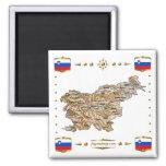 Mapa de Eslovenia + Imán de las banderas