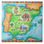 Mapa de España Azulejo Cuadrado Grande
