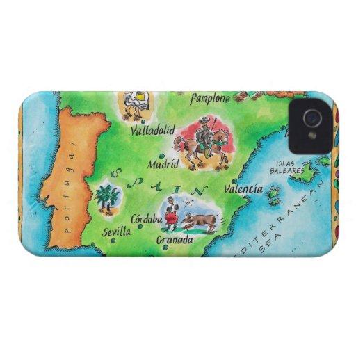 Mapa de España iPhone 4 Case-Mate Fundas