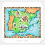 Mapa de España Pegatina Cuadrada