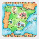 Mapa de España Pegatinas Cuadradas