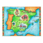 Mapa de España Tarjeta Postal