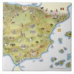 Mapa de España y de Portugal Azulejo Cuadrado Grande