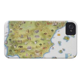 Mapa de España y de Portugal iPhone 4 Case-Mate Funda