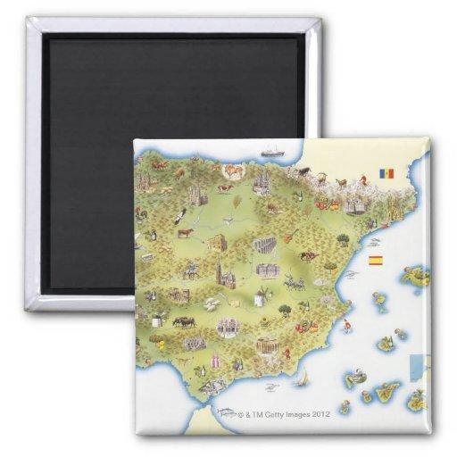 Mapa de España y de Portugal Imán Cuadrado