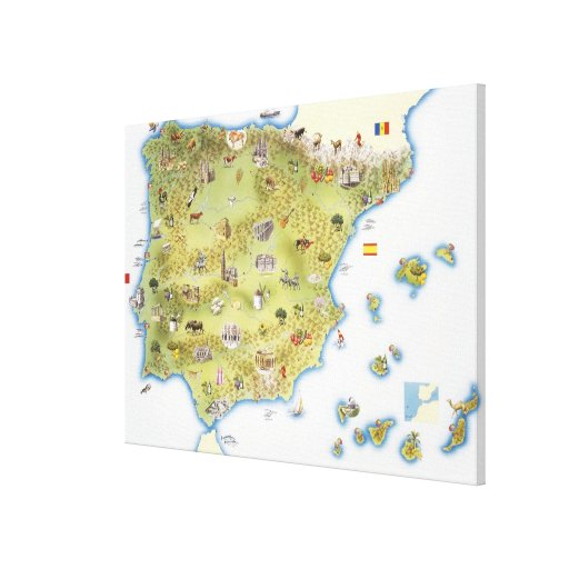 Mapa de España y de Portugal Impresion De Lienzo