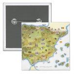 Mapa de España y de Portugal Pin Cuadrado