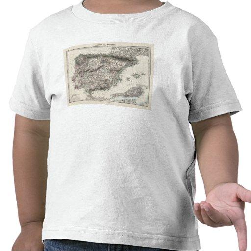 Mapa de España y de Portugal por Stieler Camiseta
