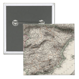 Mapa de España y de Portugal por Stieler Pin Cuadrado