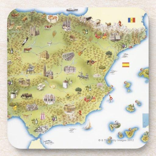 Mapa de España y de Portugal Posavasos De Bebidas