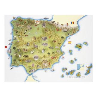 Mapa de España y de Portugal Postales