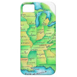 Mapa de Estados Unidos centrales iPhone 5 Carcasas