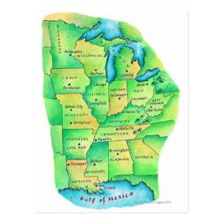 Mapa de Estados Unidos centrales Postales
