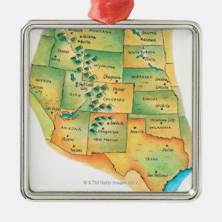 Mapa de Estados Unidos occidentales Ornamento De Navidad
