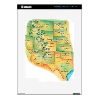 Mapa de Estados Unidos occidentales iPad 3 Pegatinas Skins