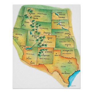 Mapa de Estados Unidos occidentales Posters