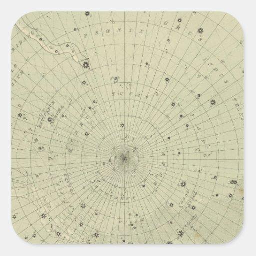 Mapa de estrella de la región polar del sur calcomania cuadradas personalizadas