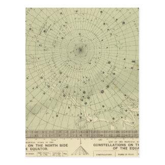 Mapa de estrella de la región polar del sur postales