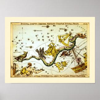 Mapa de estrella del vintage - atlas de la constel póster