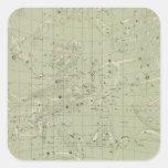 Mapa de estrella calcomanía cuadradas personalizada