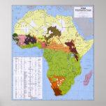 MAPA DE ETHNOLINGUISTIC DE ÁFRICA CIA POSTER