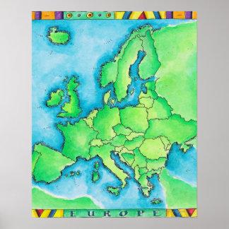 Mapa de Europa 2 Impresiones