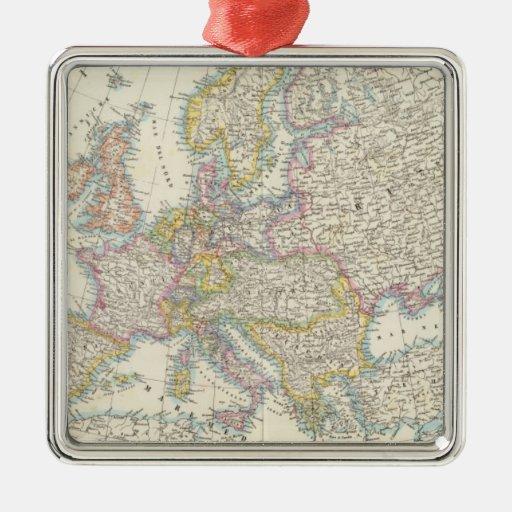 Mapa de Europa 3 Adorno Navideño Cuadrado De Metal