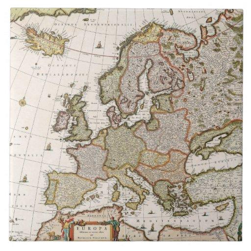 Mapa de Europa 4 Azulejo Cuadrado Grande