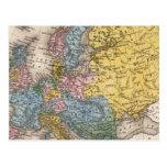 Mapa de Europa 4 Postal