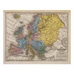 Mapa de Europa 4 Póster