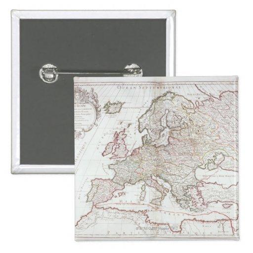Mapa de Europa 7 Pin Cuadrada 5 Cm