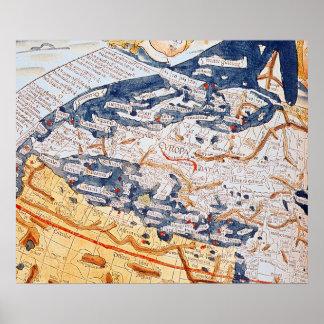 Mapa de Europa Central, 1486 Póster