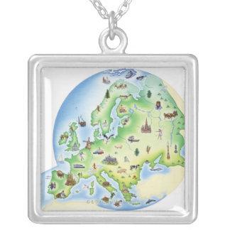 Mapa de Europa con los ejemplos de famoso Collar Plateado