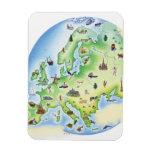 Mapa de Europa con los ejemplos de famoso Imán