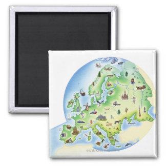 Mapa de Europa con los ejemplos de famoso Imán Cuadrado