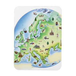 Mapa de Europa con los ejemplos de famoso Imanes De Vinilo